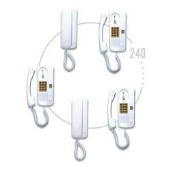 گوشی فرعی DF ارتباط داخلی 1 به 20 سیماران: تغذيه اين سيستم با ولتاژ خروجي 12V DC ، با توان ساپورت 20 گوشي در محدوده ولتاژ 170V AC تا 240V AC را دارد. حداکثر جرياني که هر تغذيه قابلیت تأمين دارد 250 mA در حالت ساکن و 400 mA لحظه اي مي باشد.گوشی فرعی ارتباط داخلی 1 به 20 سیماران قابلیت استفاده از هر تعداد گوشی مرکزی را دارد.