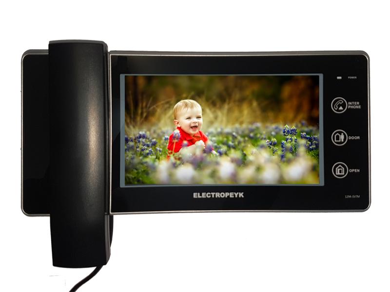 مانیتور آیفون تصویری رنگی Electropeyk - با صفحه نمایش 7 اینچی و کلید های لمسی - با حافظه داخلی و امکان افزودن حافظه جانبی تا 16 گیگابایت برای ضبط عکس و فیلم - با قابلیت اتصال به دو پنل و دو دوربین مداربسته - قابلیت برقراری ارتباط داخلی - دارای نمایشگر تنظیمات (OSD) با منوی فارسی و انگلیسی - دارای نشان دهنده زنگ بدون پاسخ (چراغ چشمک زن) - بهره گیری از فناوری ساخت (SMT) - جنس بدنه (ABS) آنتی استاتیک